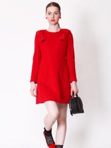 璱妠女装新款红色长袖连衣裙