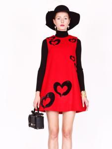 璱妠女装新款红色两件套
