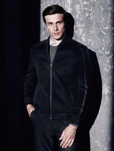 杉杉服装黑色商务休闲夹克外套