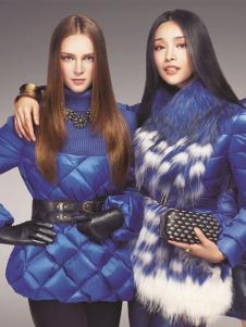 蜜思罗雅女装2015秋冬蓝色羽绒服
