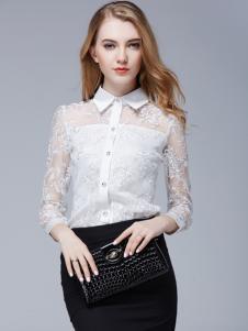 百依秀子女装新款白色蕾丝衬衫