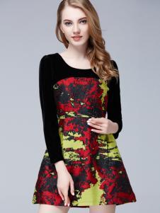 百依秀子春季新款黑色连衣裙