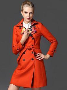 夺宝奇兵折扣女装红色大衣