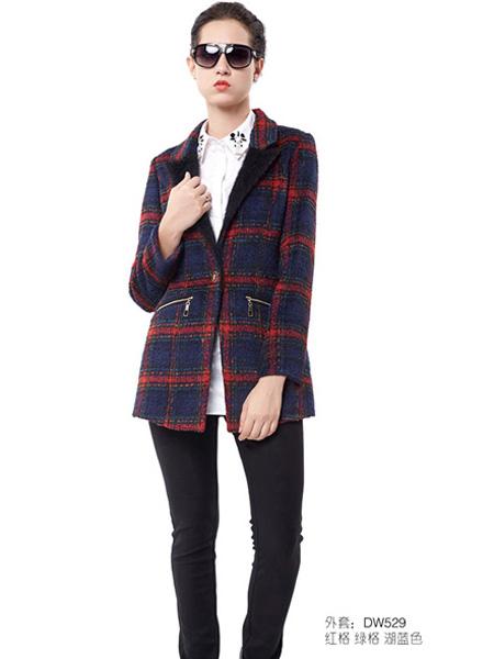 迪笛欧女装冬季格纹中款外套
