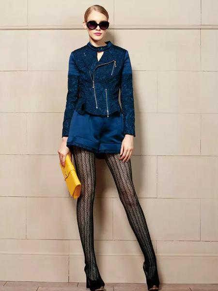 卡缇女装冬季新款蓝色外套