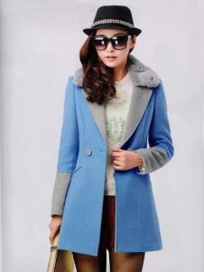 耶丽雅女装冬季新款蓝色外套
