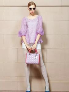 卡缇女装新款紫色打底衫
