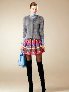 卡缇国际女装卡缇女装冬季新款灰色皮草