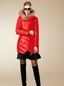 卡缇女装冬季新款红色羽绒服