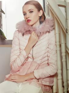 耶丽雅折扣女装新款粉色羽绒服