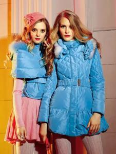 卡缇女装冬季新款蓝色羽绒服