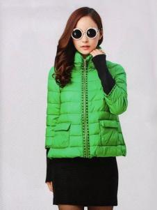 耶丽雅折扣女装新款绿色短款羽绒服