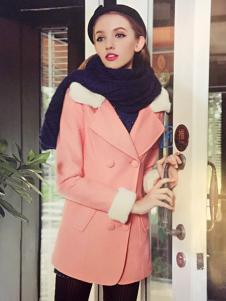 耶丽雅折扣女装秋冬新款粉色外套