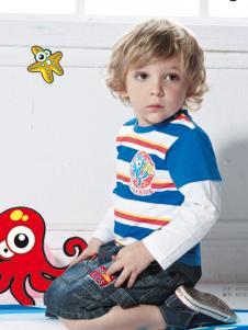 皇儿童装男小童蓝色格子上衣