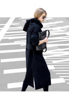 KENNY女装2016新款黑色长款外套