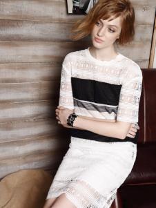 红贝缇女装2016新款白色蕾丝连衣裙