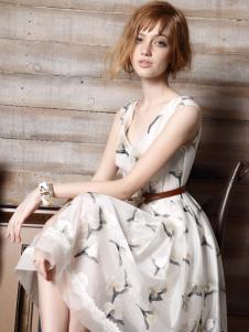 红贝缇2016夏装印花裙子