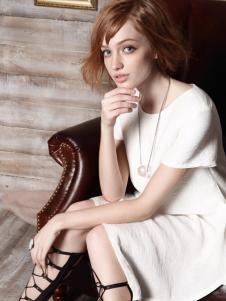 红贝缇女装2016夏季新款白色连衣裙