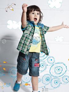 皇儿童装2016新款男小童格子衬衫