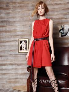 红贝缇女装2016新款无袖红色连衣裙