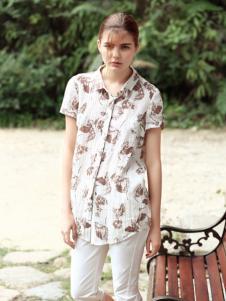 禾佃女装短袖衬衫