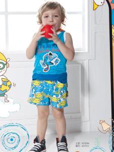 皇儿童装夏季新款蓝色无袖T恤