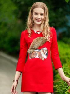 知彩红色打底连衣裙