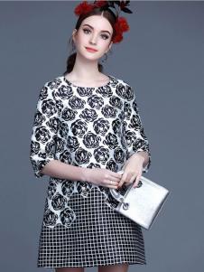 珊版丽黑白连衣裙