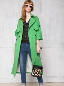 红贝缇正品女装绿色风衣