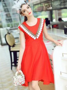 珊版丽女装红色连衣裙