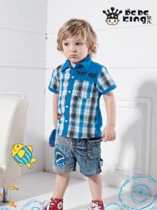 皇儿男童装夏季新款蓝色格子衬衫