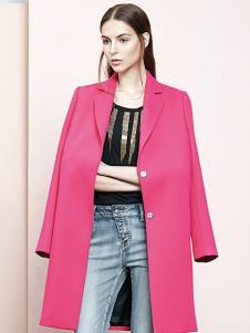 ELLE女装春季新款长款红色外套