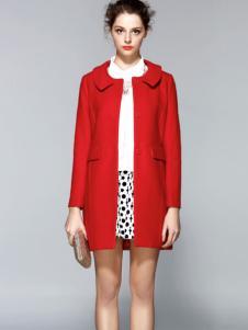 红贝缇羊绒大衣