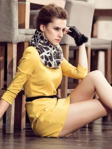 曼言黄色连衣裙