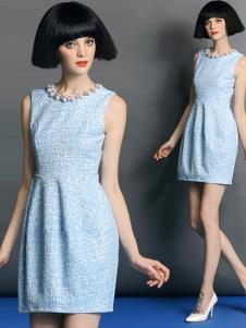 曼言无袖蓝色连衣裙