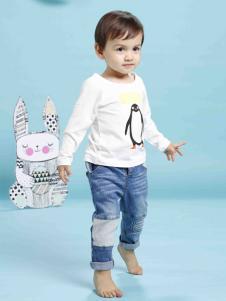 兔子杰罗企鹅印花T恤