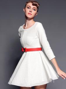 曼言2016春装白色连衣裙