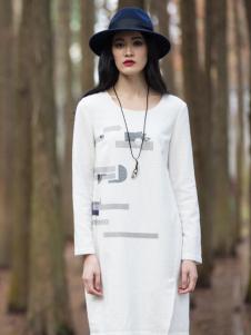 曦然白色长款连衣裙