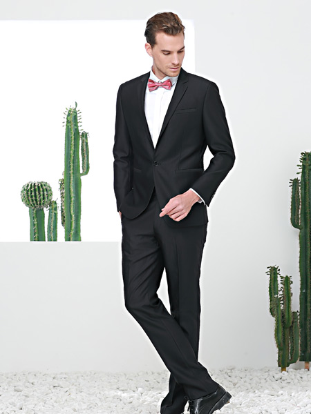 富绅春季新款黑色西服套装