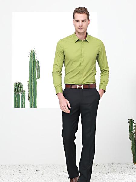 富绅春季新款绿色衬衫