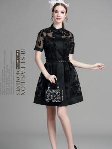 珊版丽黑色蕾丝女装