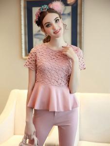 珊版丽女装粉色套装