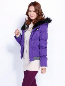 玛诗可紫色短款羽绒服