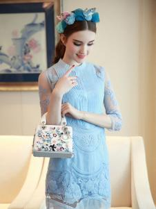 珊版丽女装蓝色连衣裙