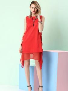 千面丽人红色连衣裙