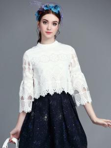珊版丽女装白色蕾丝上衣