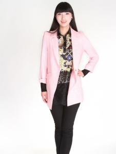 夺宝奇兵女装春季新款粉色小西服
