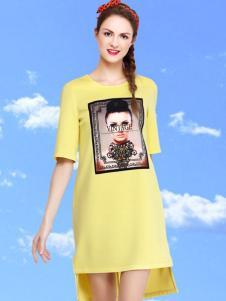 丹缇施黄色连衣裙