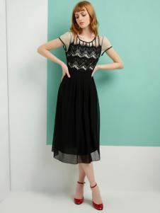梦菲雪黑色连衣裙