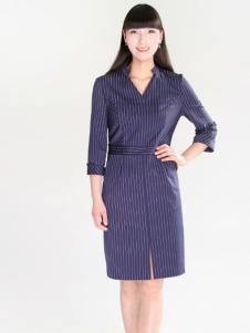夺宝奇兵女装蓝色格子中袖新款衬衫裙